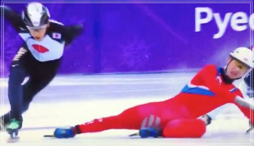 ショートトラック男子、北朝鮮の選手がひどい!日本の渡邊選手を妨害!